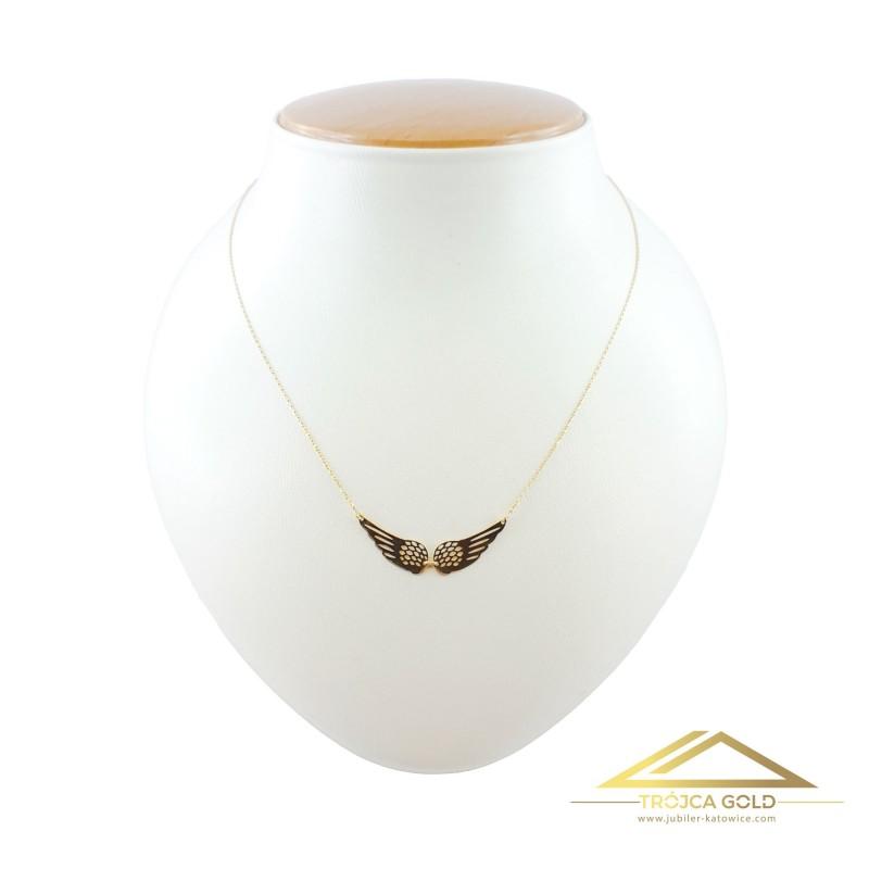 Złoty łańcuszek, celebrytka ze skrzydłami, 14k pr. 585