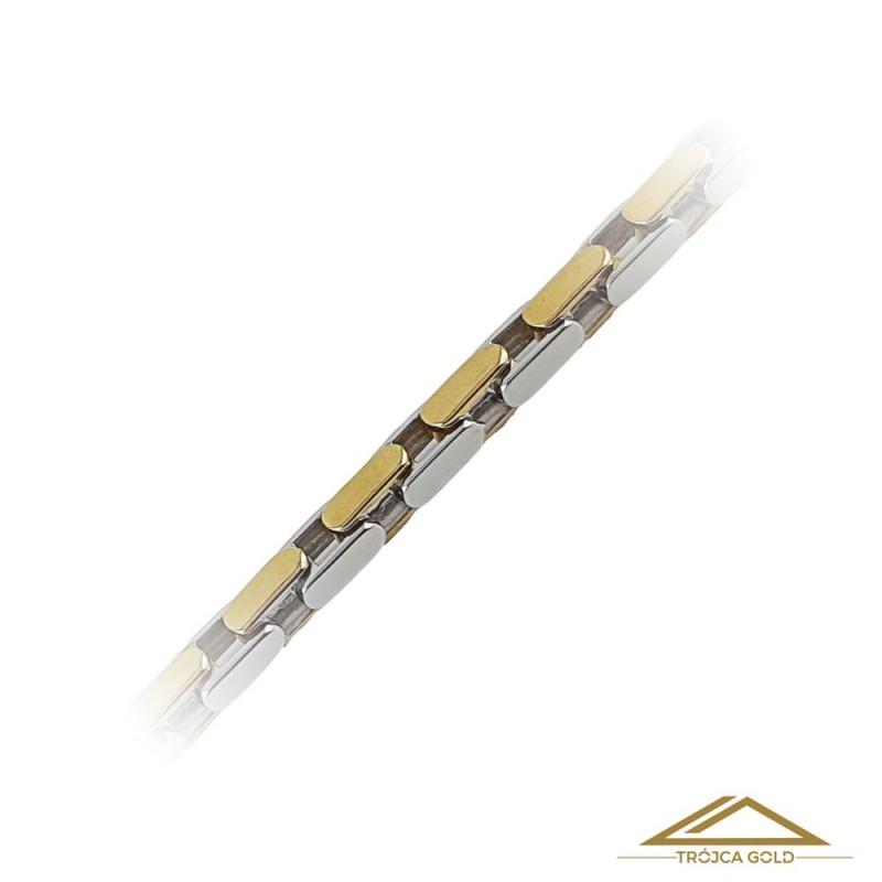 Łańcuch z biało-żółtych ogniw, Przeplatany, Pełny.