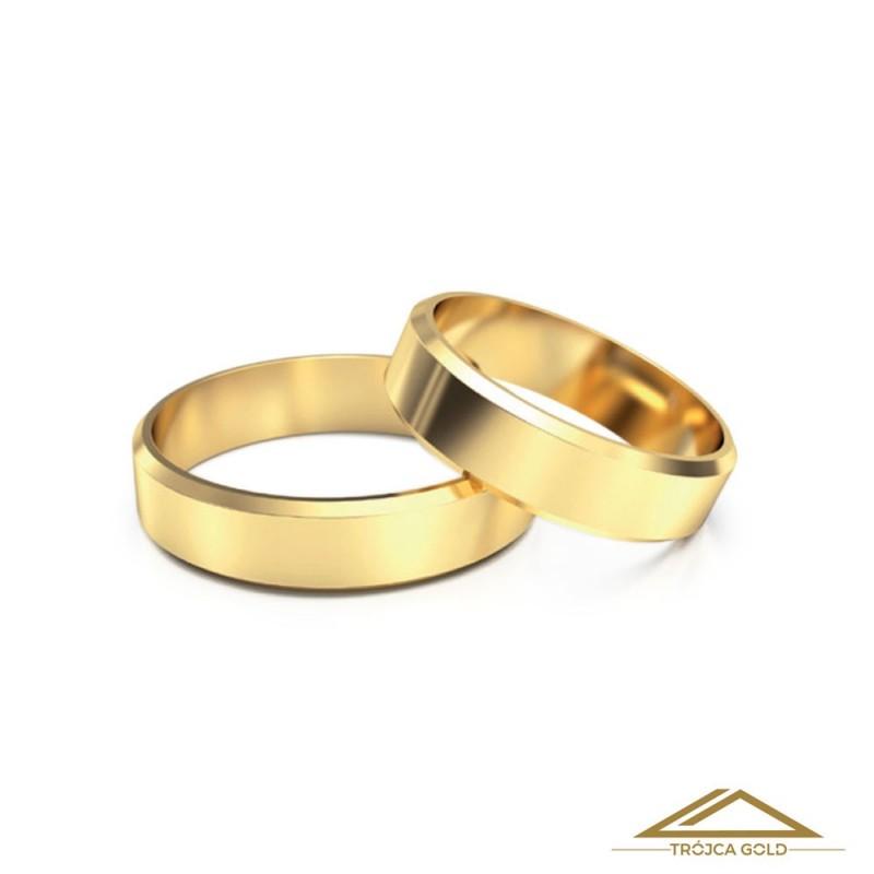 Cena za 1g. Obrączki ślubne, złoto 14k, pr. 585 klasyczne fazowane