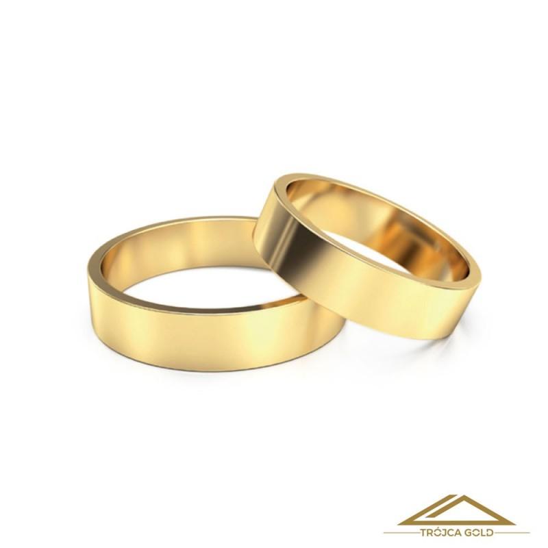 Cena za 1g. Obrączki ślubne, złoto 14k, pr. 585 klasyczne prostokątne
