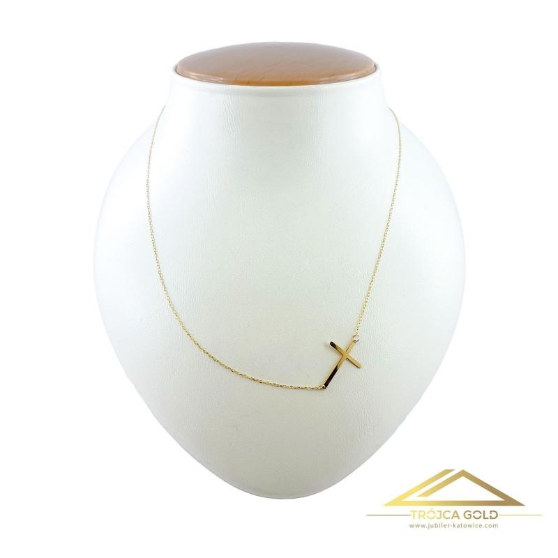 Złoty łańcuszek, celebrytka krzyżyk, 14k pr. 585