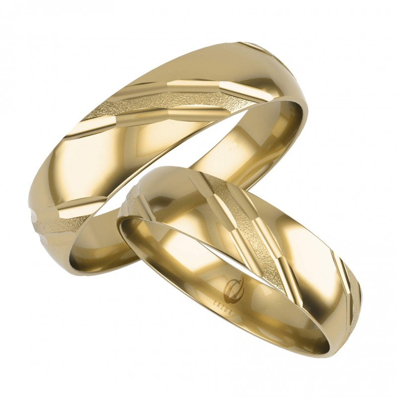 Złote Obrączki Ślubne, Zdobione pr. 585,14k, Model L01