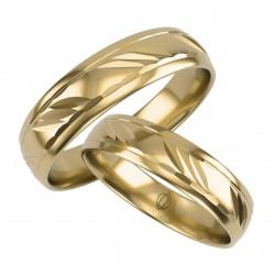Złote Obrączki Ślubne, Zdobione pr. 585,14k, Model L04