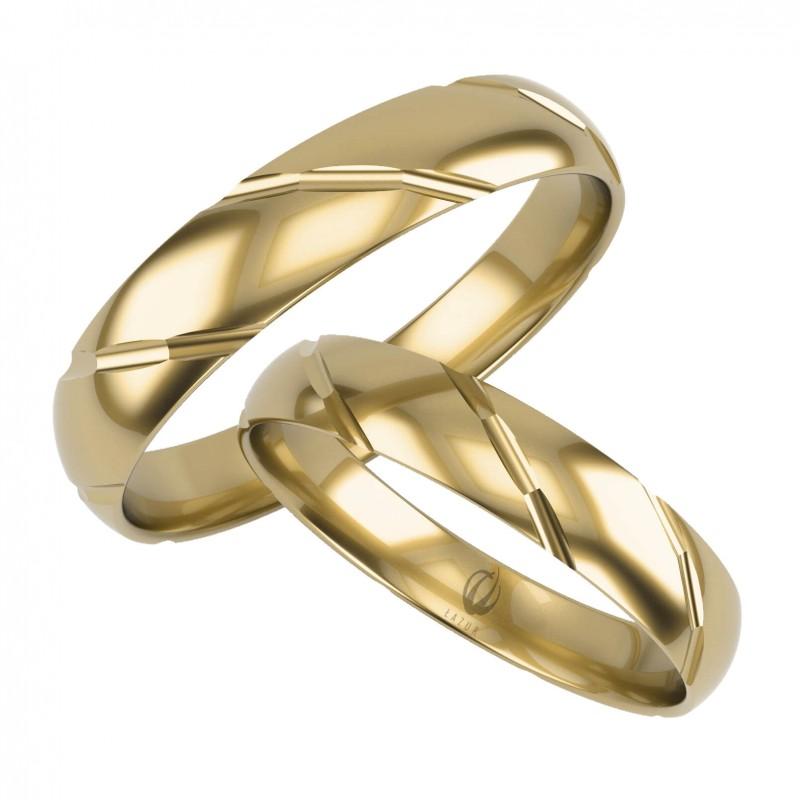 Złote Obrączki Ślubne, Zdobione pr. 585,14k, Model L10