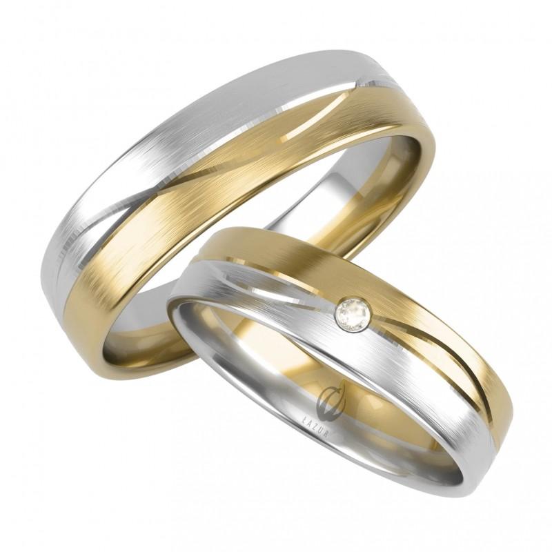 Złote Obrączki Ślubne, Biało-Żółte pr. 585,14k, Model N13