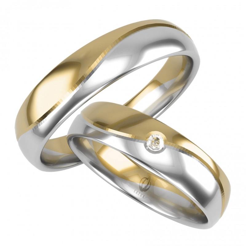 !Złote Obrączki Ślubne, Biało-Żółte pr. 585,14k, Model N17