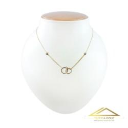 Złoty łańcuszek, celebrytka spleciony pierścionek z obrączką, 14k pr. 585