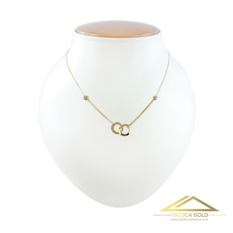Złoty łańcuszek, celebrytka dwie splecione obrączki, 14k pr. 585