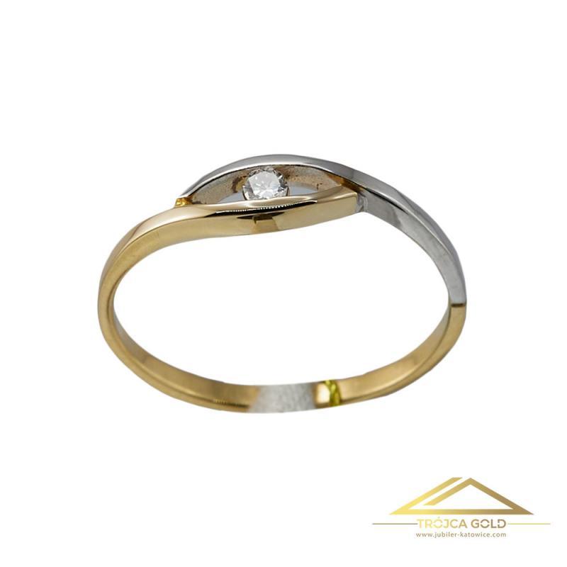 Złoty pierścionek z brylantem 0,05 ct