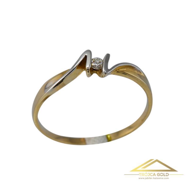 Złoty pierścionek z brylantem 0,065 ct